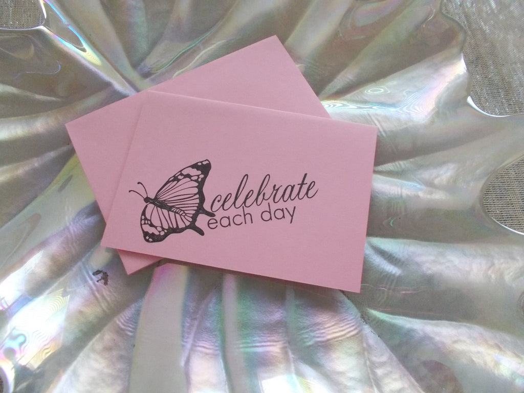 No. 143 - Celebrate Each Day Note Card - in Pink – The Katz Meow ...