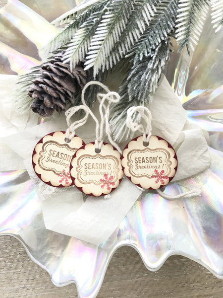 No. 145 - Seasons Geetings Holiday Gift Tags, in Red - Set of 10