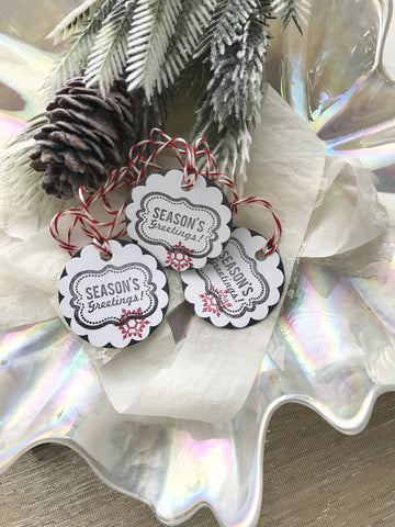 (No. 150) - Seasons Geetings Holiday Gift Tags, in Black - Set of 10
