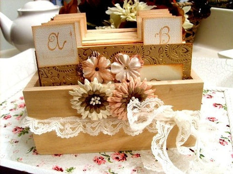 No. 002 - Romantic Wedding Wish Guest Book, Guest Book Alternative, Address File Box, Recipe Box