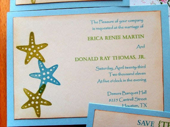(No. 016) - Starfish/Beach Themed Wedding Invitations w/ Save the Date