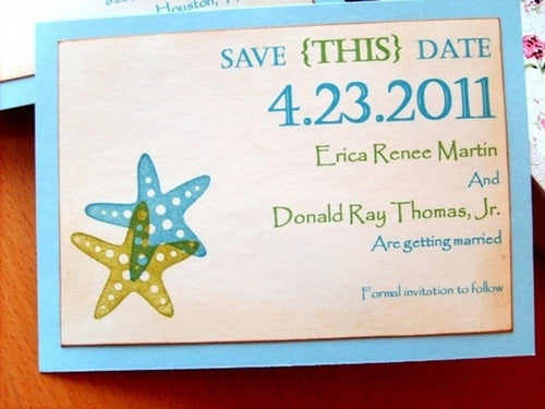 No. 016 - Starfish/Beach Themed Wedding Invitations w/ Save the Date