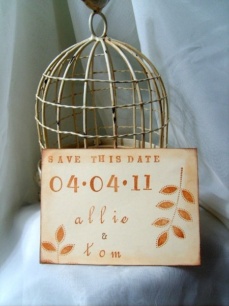 No. 027 - Foliage Hand Stamped Postcard Save the Date