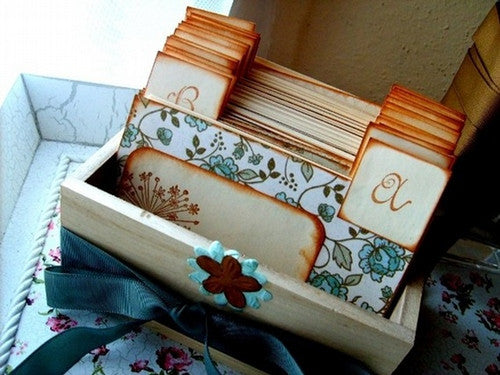 No. 029 - Rustic Wedding Wish Guest Box, Address File Box, Recipe Box