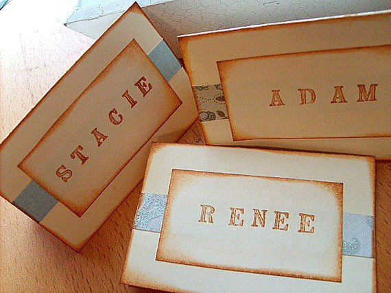 No. 032 - Hand Stamped Place Cards, Set of 25