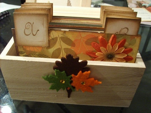 No. 035 - Fall Themed Wedding Wish Guest Box, Address File Box, Recipe Box