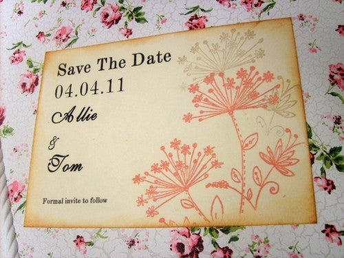 No. 036 - Dandelion Hand Stamped Postcard Save the Date