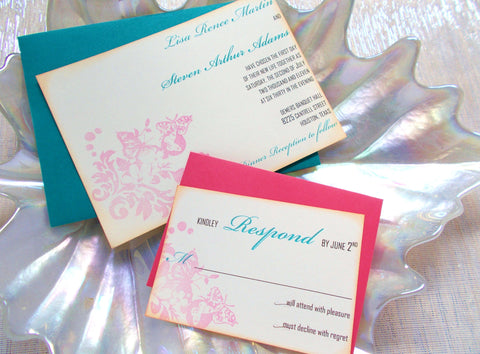(No. 037) - Butterfly Garden Wedding Invitations