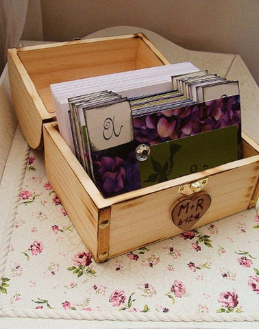 No. 054 - Bird Themed Wedding Wish Guest Box, Guest Book Alternative, Address File, Guest Book