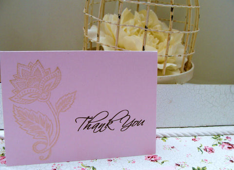 (No. 057) - Gold Rose Thank You Card