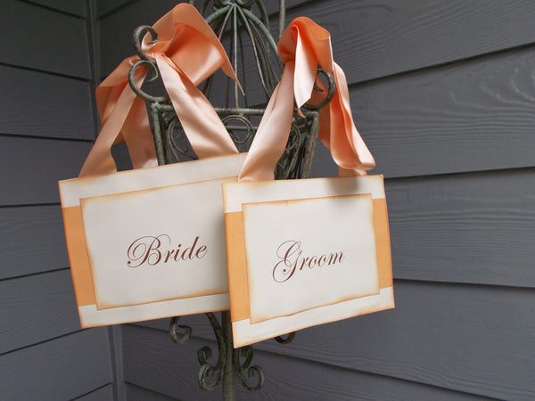 (No. 066) - Peach Bride and Groom Chair Signs