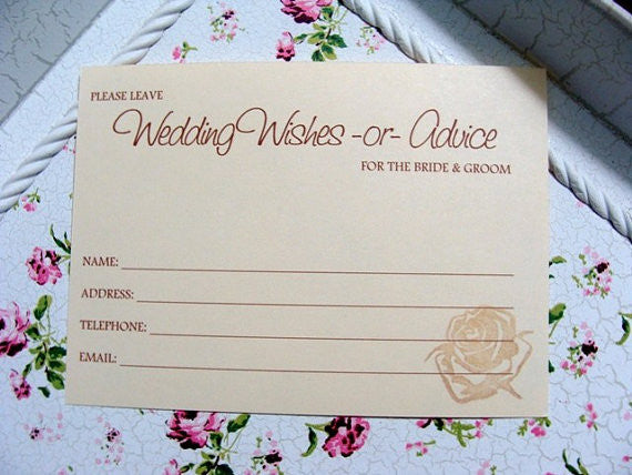 No. 076 - Rose Stamped Wedding Wish Insert Cards, Set of 150