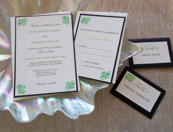 No. 083 - The Classic Wedding Invitation Set in Green