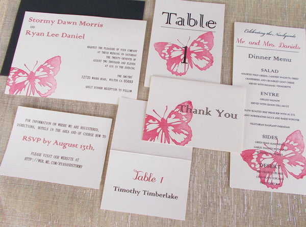 No. 086.1 - Red Butterfly Invitation Package, DEPOSIT