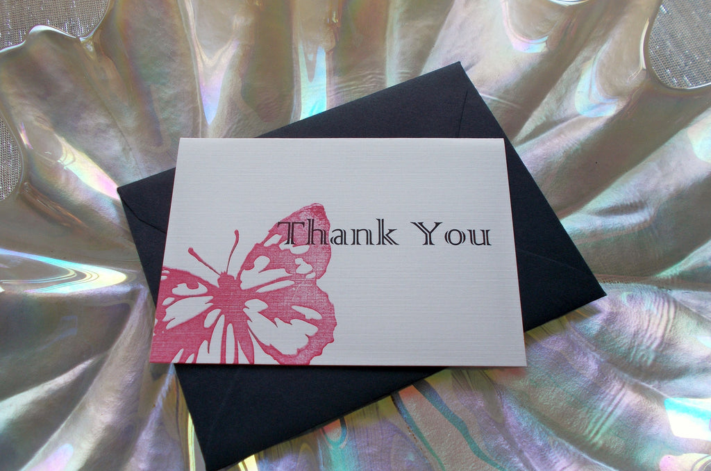 (No. 086.3) - Red Butterfly Thank You Card
