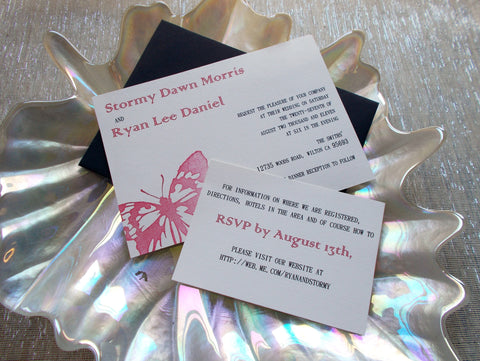 (No. 086) - Red Butterfly Wedding Invitations