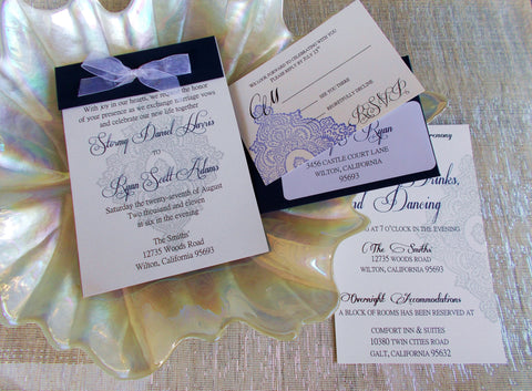 (No. 090) - The Lace Wedding Invitation Collection in Navy and Gray