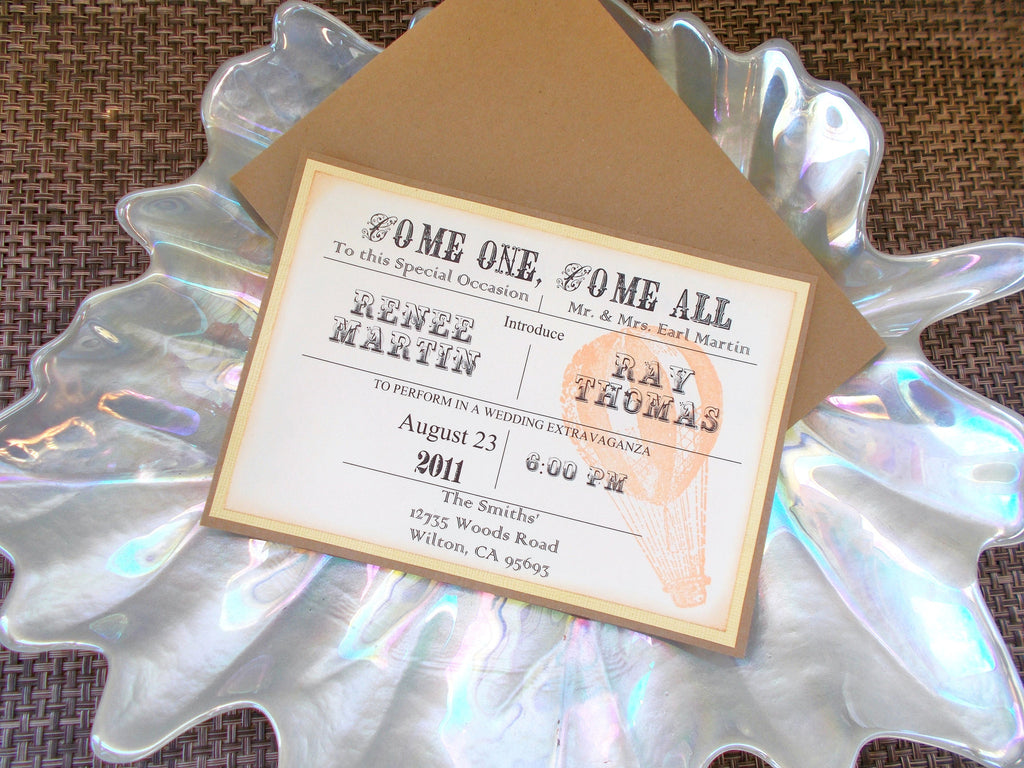 No. 094 - Carnival/Circus Themed Wedding Invitation – The Katz Meow ...