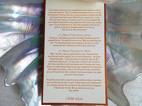 (No. 096) - Five Page Wedding Ceremony Program Booklet