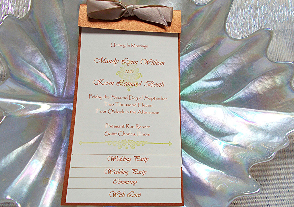 No. 096 - Five Page Wedding Ceremony Program Booklet
