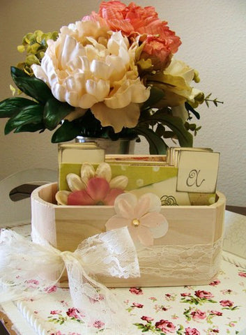 (No. 101) - Pink and Green Wedding Wish Guest Box, Address File Box, Recipe Box, Guest Book