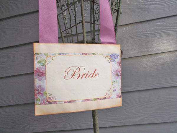 No. 109 - Purple Floral Bride and Groom Chair Signs / Wedding Door Signs