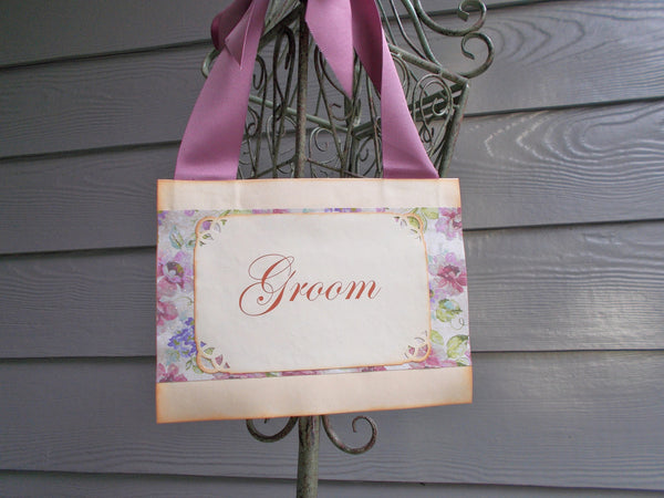 (No. 109) - Purple Floral Bride and Groom Chair Signs, Wedding Door Signs, and Reception Decor (8x6) - READY TO SHIP