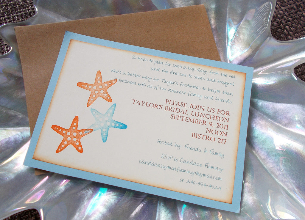 no 1151 blue starfish bridal shower bachelorette party bridal luncheon invitation sample