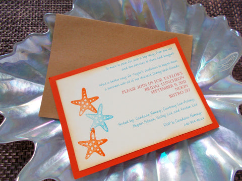 (No. 114) - Orange Starfish Beach Themed Bridal Shower Invitation, Wedding Invitations, Bridal Shower Luncheon