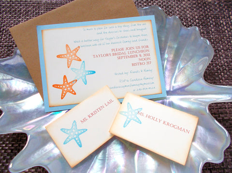 (No. 115) - Starfish Bridal Shower Invitation, Set of 50