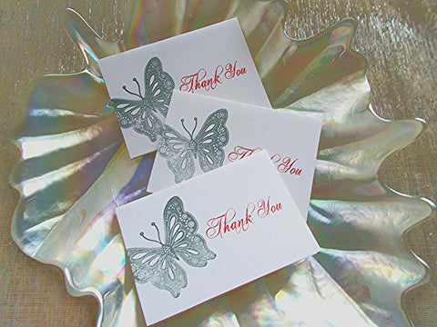 No. 117.1 - Set of 50, Black Butterfly Thank You Card