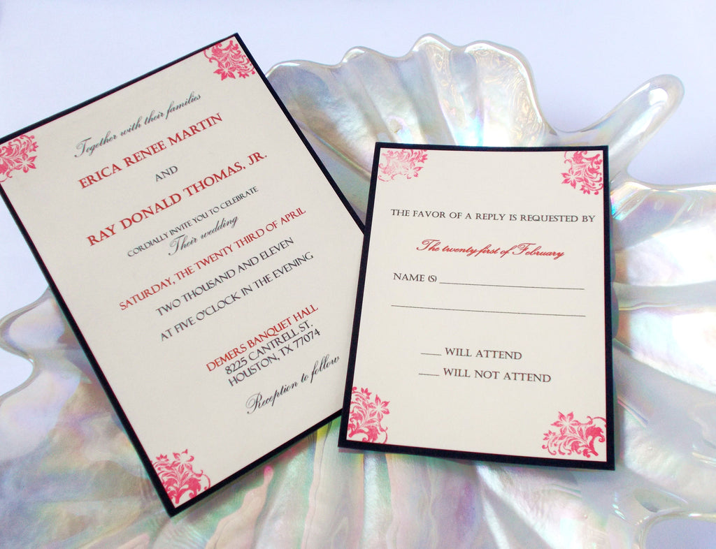 (No. 123) - The Classic Wedding Invitations in Red