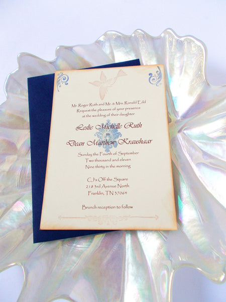 (No. 124) - Blue Vintage Bird Wedding Invitation