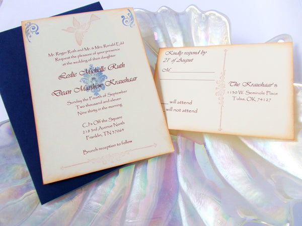 No. 124 - Blue Vintage Bird Wedding Invitation