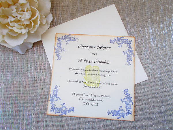 (No. 126.1) - Flower Elegance Invitation in Blue and Green 5 x 5 square