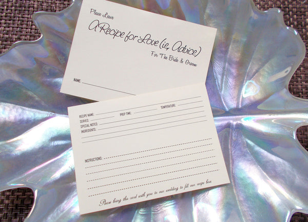 No. 132 - Recipe for Love Wedding Wish Insert Cards, Guest Book Alternative, Set of 150