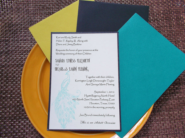 (No. 133) - Peacock Wedding Invitation