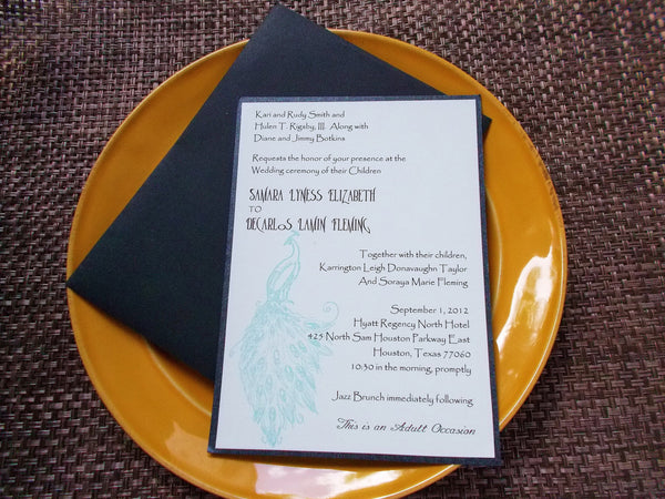 No. 133 - Peacock Wedding Invitation