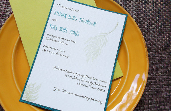 No. 134 - Peacock Feather Wedding Invitation