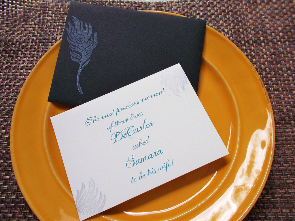 No. 134.1 - Peacock Feather Invitation Card