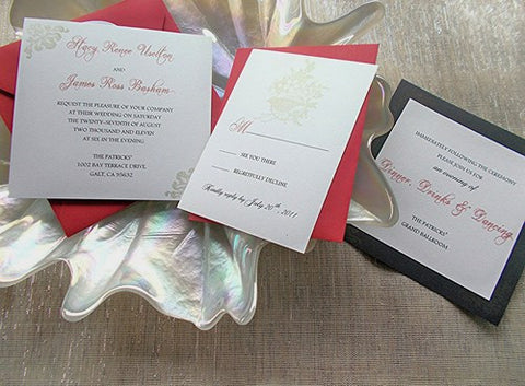 (No. 085) - The Stacy in Red, Black, and Gold Wedding Invitation Set