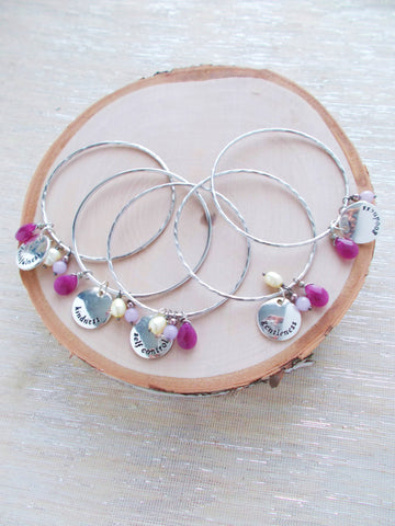 (No. 7999JB) - Set of 5 Bridesmaids Charm Bracelets