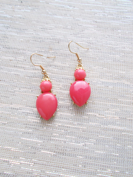 8073JE - Hot Pink and Gold Earrings
