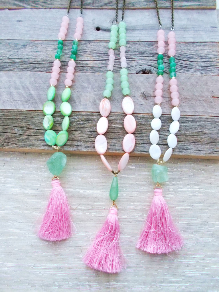 8252JN - Lady Pink Tassel Necklace