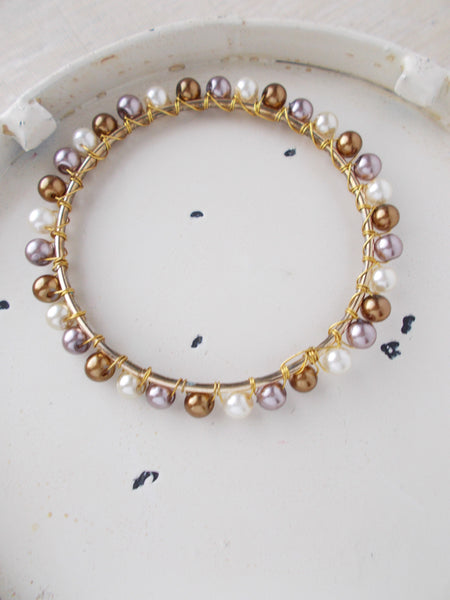 8039JB - Brown, Cream, and Mauve Gold Bangles