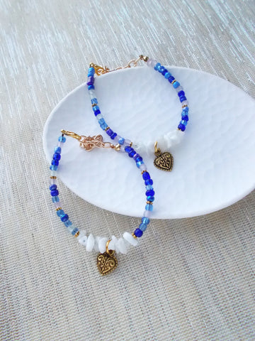 8633JB.a - Fanciful Heart Bracelet in Shades of Blue