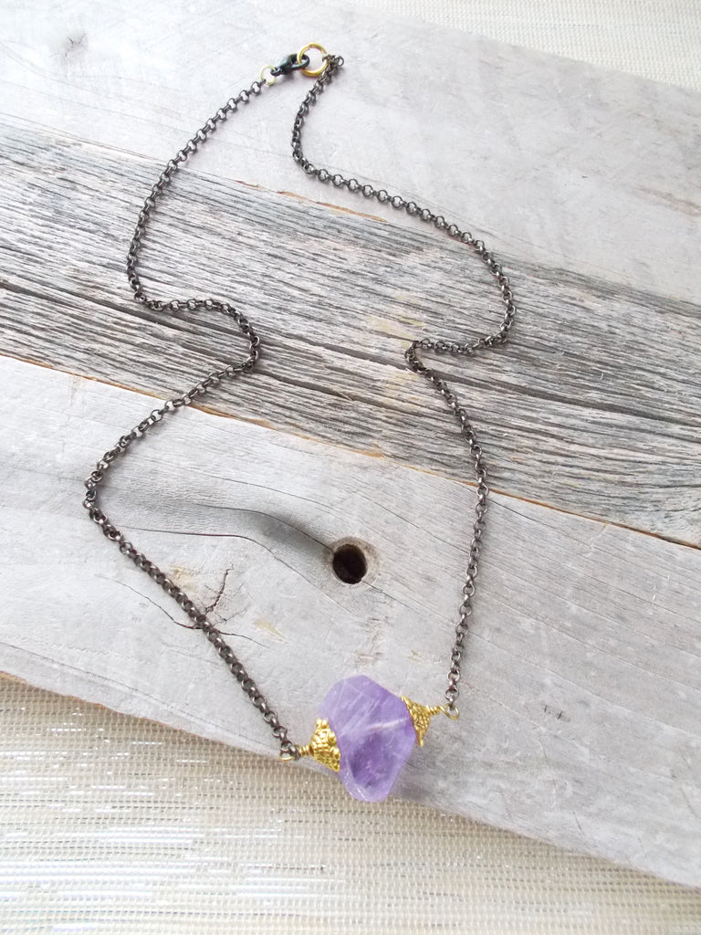 8647JN - Amethyst Rock Necklace
