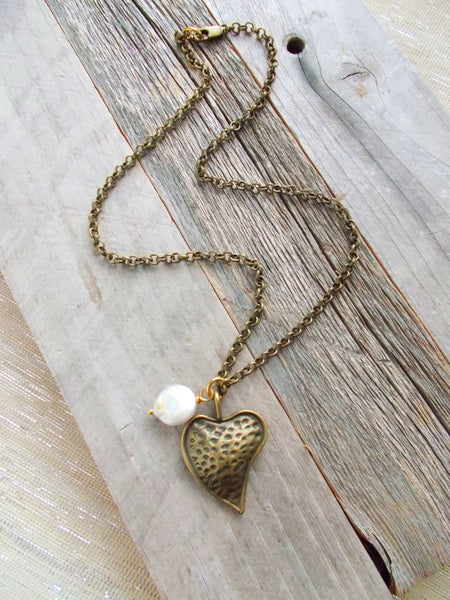 (No. 8656JN) - Show Your Heart Necklace, In Brass