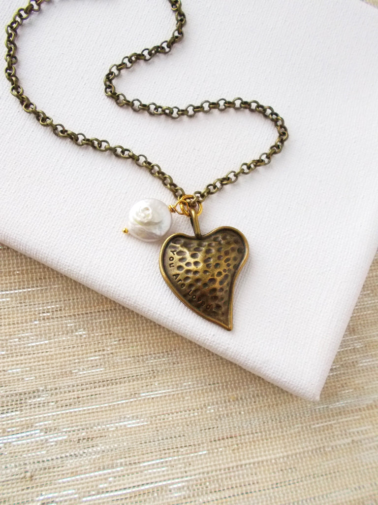 8656JN - Show Your Heart Necklace, In Brass