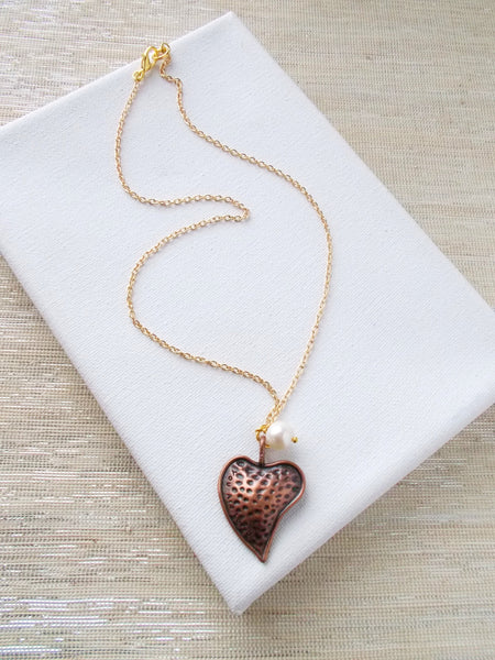 8657JN - Show Your Heart Necklace, In Copper